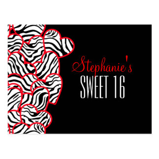 Sweet red zebra hearts Sweet 16 Birthday Postcard