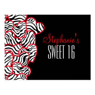 Sweet red zebra hearts Sweet 16 Birthday Postcard