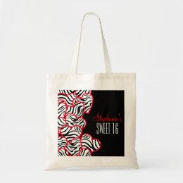 Sweet red zebra hearts Sweet 16 Birthday Tote bag
