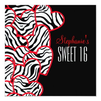 Sweet red zebra hearts Sweet 16 Party Invitation