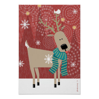 Sweet Reindeer in Scarf with Bird and Snowflakes Poster