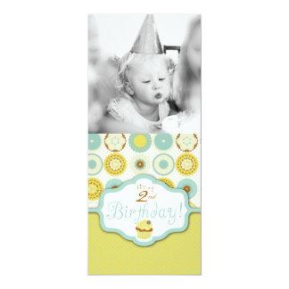 "Sweet Retro Cupcake Photo Template Birthday 4"" X 9.25"" Invitation Card"