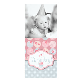 "Sweet Retro Flower Cupcake Photo Template Birthday 4"" X 9.25"" Invitation Card"