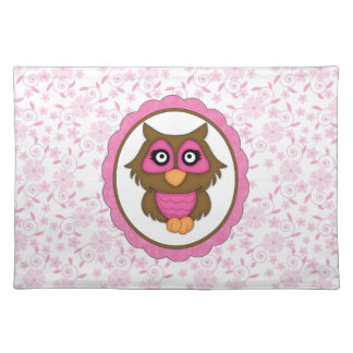 Sweet Retro Pink Owls Cloth Placemat