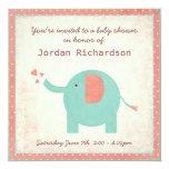 Sweet Retro Unisex Elephant Baby Shower Invitation