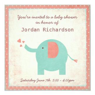 Sweet Retro Unisex Elephant Baby Shower 5.25x5.25 Square Paper Invitation Card