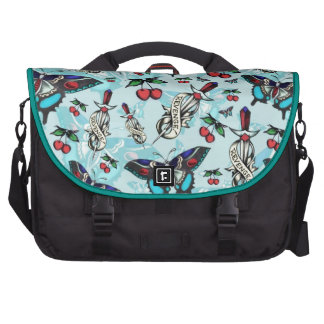 Sweet Revenge. Tattoo style drawing pattern BLUE. Bags For Laptop