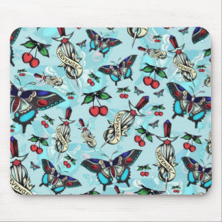 Sweet Revenge. Tattoo style drawing pattern BLUE. Mouse Pad