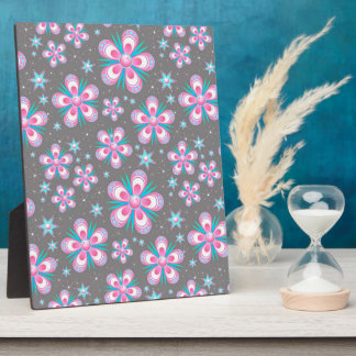 Sweet Romantic  Abstract Pink Flowers Pattern Plaque