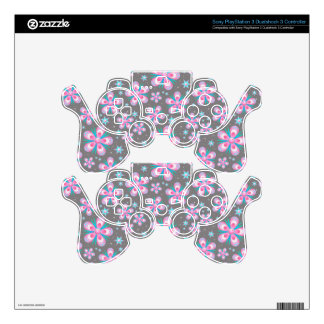 Sweet Romantic  Abstract Pink Flowers Pattern PS3 Controller Skin