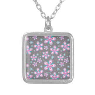 Sweet Romantic  Abstract Pink Flowers Pattern Silver Plated Necklace
