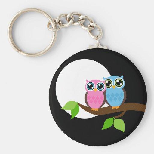 Sweet Romantic Owls Basic Round Button Keychain