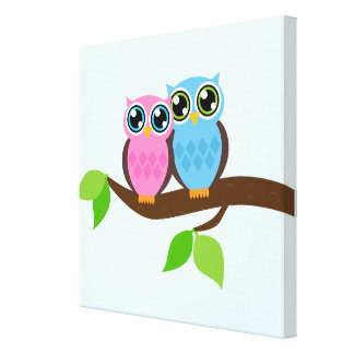 Sweet Romantic Owls Canvas Print