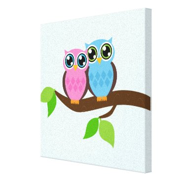 heartlocked Sweet Romantic Owls Canvas Print