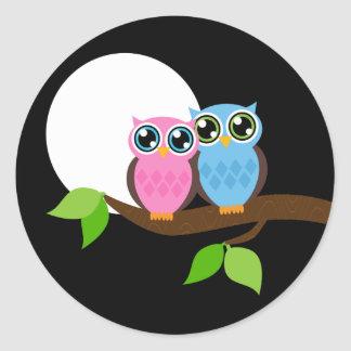 Sweet Romantic Owls Classic Round Sticker