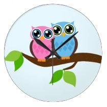 Sweet Romantic Owls Large Clock