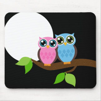 Sweet Romantic Owls Mouse Pad