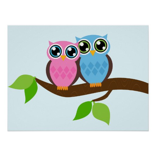 Sweet Romantic Owls Poster