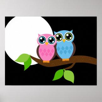 Sweet Romantic Owls Poster