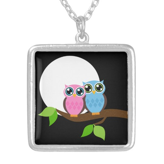 Sweet Romantic Owls Silver Plated Necklace