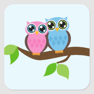 Sweet Romantic Owls Square Sticker