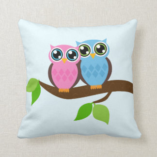 Sweet Romantic Owls Throw Pillow