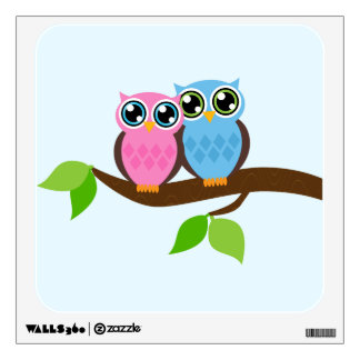 Sweet Romantic Owls Wall Decal