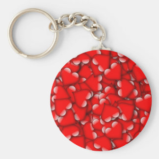 Sweet Romantic Valentine Love Hearts Red Keychain