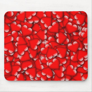 Sweet Romantic Valentine Love Hearts Red Mouse Pad