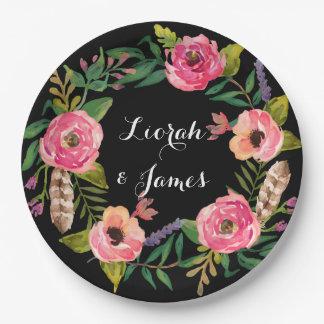 Sweet romantic watercolor flower 9 inch paper plate