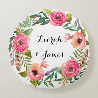 Sweet romantic watercolor flower round pillow