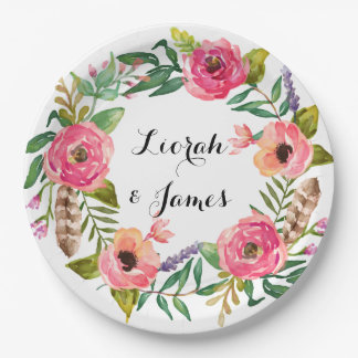 Sweet romantic watercolor flower 9 inch paper plate