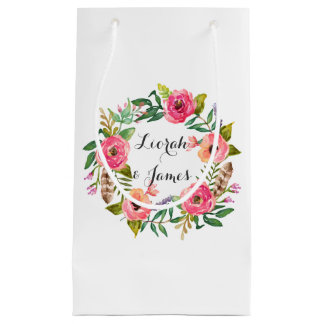 Sweet romantic watercolor flower small gift bag