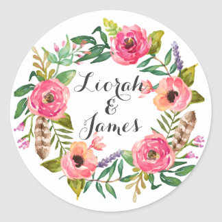 Sweet romantic watercolor flowers classic round sticker