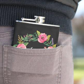 Sweet romantic watercolor flowers hip flask