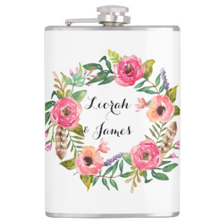 Sweet romantic watercolor flowers hip flasks