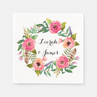 Sweet romantic watercolor flowers paper napkin