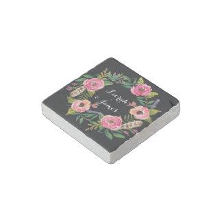 Sweet romantic watercolor flowers stone magnet