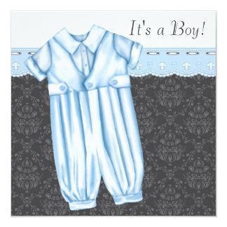 Sweet Romper Booties Blue Gray Baby Boy Shower Card