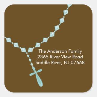 Sweet Rosary Beads Address Sticker Baptism