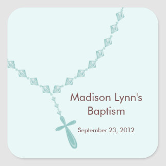 Sweet Rosary Beads Baptism Favor Seal Blue