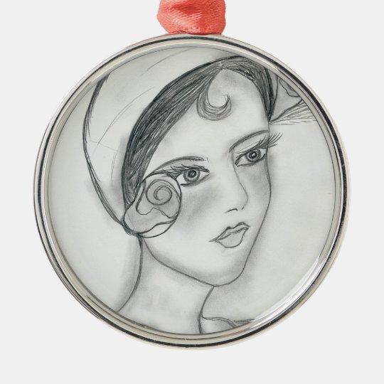 Sweet Rose Flapper Metal Ornament