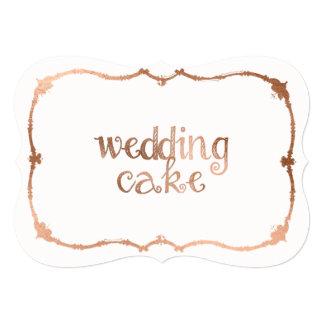 Sweet Rose Gold-Effect Wedding Cake Table Sign Card