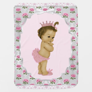 Sweet Rose Pink Princess Baby Receiving Blanket