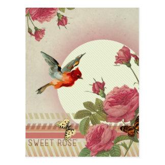 'Sweet Rose' vintage ispired postcard