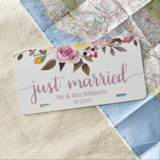 Sweet Rose Watercolor Floral Wedding Just Married License Plate