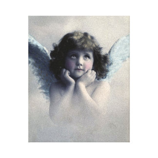 Sweet Rosy Cheeked Vintage Angel in Clouds Canvas Print
