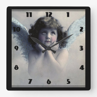 Sweet Rosy Cheeked Vintage Angel in Clouds Square Wallclocks