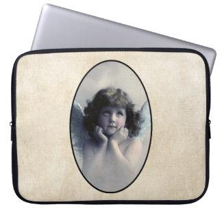 Sweet Rosy Cheeked Vintage Angel in Clouds Computer Sleeve