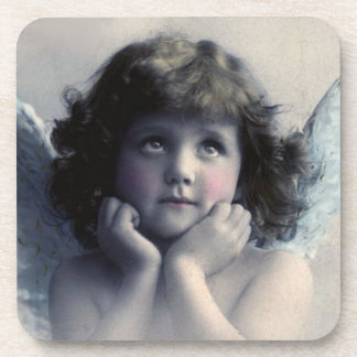 Sweet Rosy Cheeked Vintage Angel in Clouds Drink Coaster